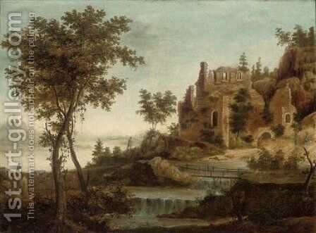 A river landscape with figures and ruins by a waterfall by (after) Dirck Verhaert - Reproduction Oil Painting