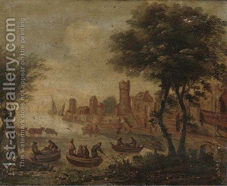 A riverside town with anglers in boats by (after) Dirck Verhaert - Reproduction Oil Painting