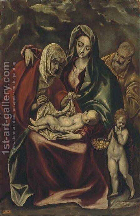The Holy Family with Saint Anne and the Infant Saint John the Baptist by (after) El Greco (Domenikos Theotokopoulos) - Reproduction Oil Painting