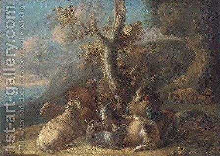A mountain pass with a shepherd and his goats at rest by (after) Domenico Brandi - Reproduction Oil Painting