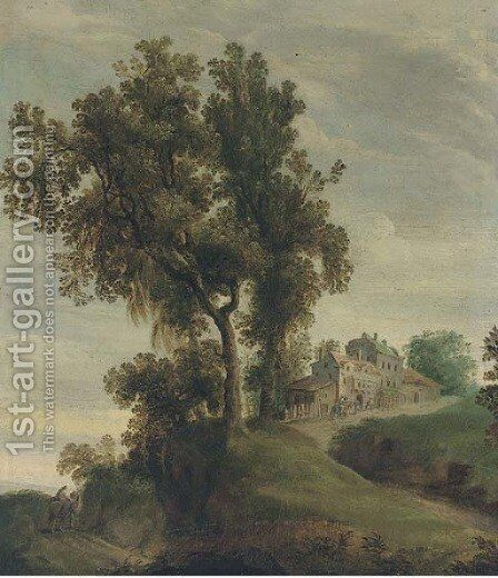 A partly wooded landscape with travellers on a track near a village by (after) Domenico Fetti - Reproduction Oil Painting