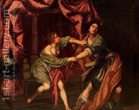 Potiphar's wife by (after) Domenico Fiasella - Reproduction Oil Painting