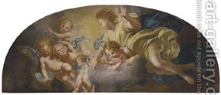 An angel and putti by (after) Domenico Piola - Reproduction Oil Painting