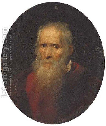Portrait of a gentleman, bust-length, in a red coat by (after) Domenico Tintoretto (Robusti) - Reproduction Oil Painting