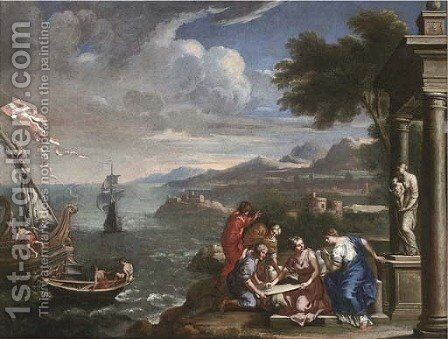 A Mediterranean coastal landscape with shipping and figures before a statue of the Madonna and Child in a classical portico by (after) Domenichino (Domenico Zampieri) - Reproduction Oil Painting