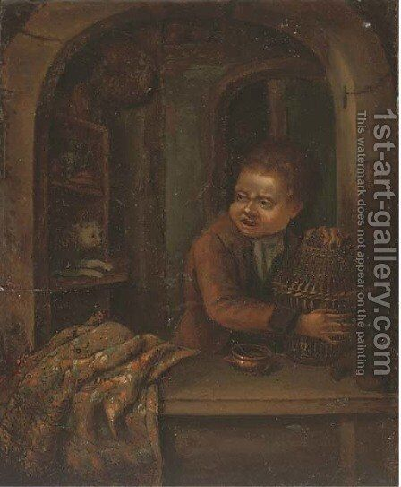 A boy with a birdcage at a casement by (after) Dominicus Van Tol - Reproduction Oil Painting