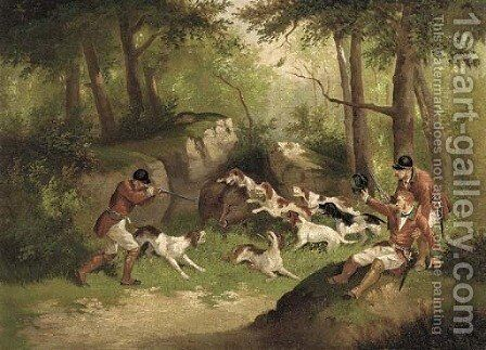 The boar hunt by (after) Edward Benjamin Herberte - Reproduction Oil Painting