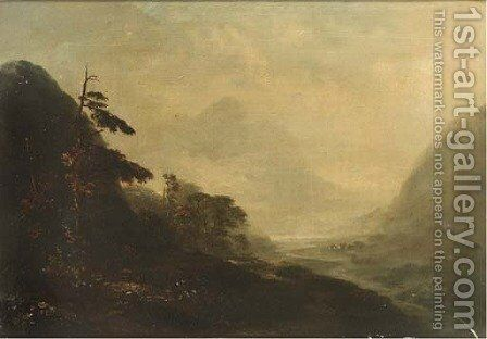 An extensive landscape by (after) Edward Train - Reproduction Oil Painting