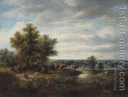 Children with cattle in a Kent landscape by (after) Edward Williams - Reproduction Oil Painting