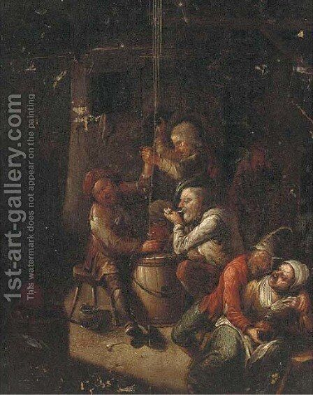 Boors smoking and drinking in a tavern 2 by (after) Egbert Van, The Younger Heemskerck - Reproduction Oil Painting