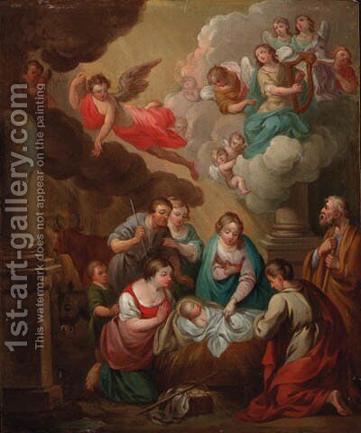 The Adoration of the Shepherds by (after) Erasmus II Quellin (Quellinus) - Reproduction Oil Painting