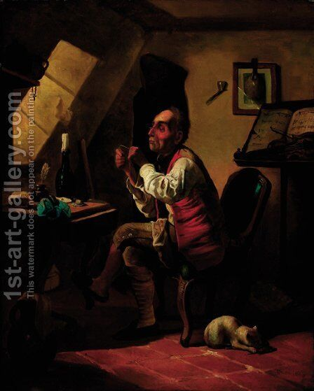 The musician darning his socks by (after) Erskine Nicol - Reproduction Oil Painting