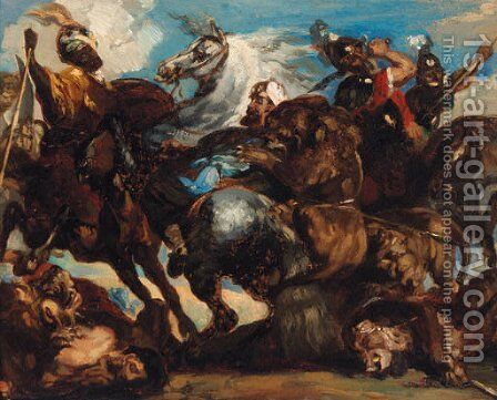 The Lion Fight by (after) Eugene Delacroix - Reproduction Oil Painting