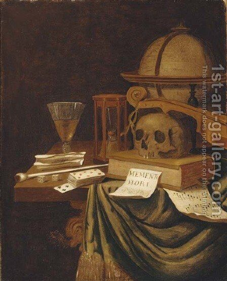 A vanitas still life, with a globe, an hour glass by (after) Evert Collier - Reproduction Oil Painting