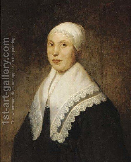 Portrait of a lady, half-length, in a white lace cap by (after) Ferdinand Bol - Reproduction Oil Painting