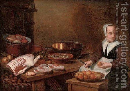 A kitchen interior with a maid seated preparing apples, with meat and fish on a wooden table by (after) Floris Gerritsz. Van Schooten - Reproduction Oil Painting