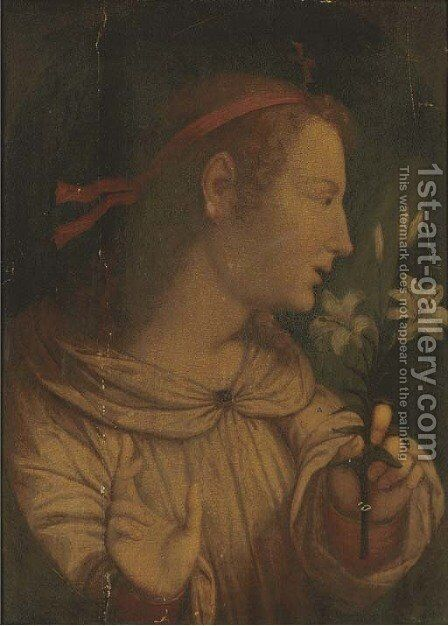 The Angel of the Annunciation by (after) Fra Bartolommeo Della Porta - Reproduction Oil Painting