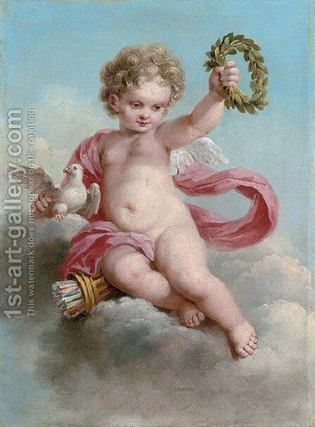 A putto by (after) Francois Boucher - Reproduction Oil Painting