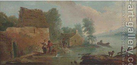 A river landscape with figures in a boat, by a waterway cottage, an angler beyond by (after) Francois Boucher - Reproduction Oil Painting