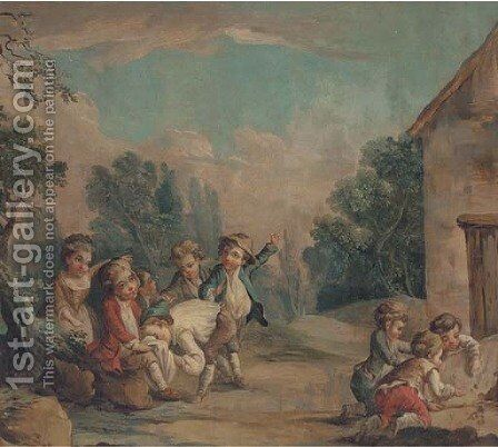 Children playing in a landcsape by (after) Francois Boucher - Reproduction Oil Painting