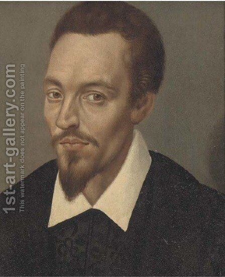 A portrait of a man, bust-length, in a white collar by (after) Clouet, Francois - Reproduction Oil Painting