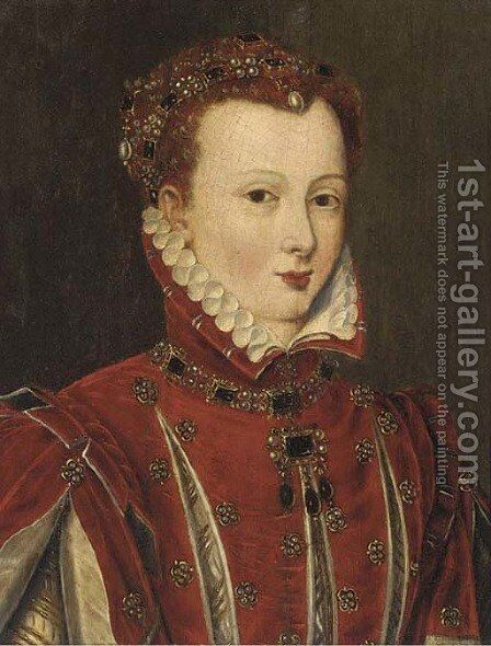 Portrait of a lady, thought to be Mary Queen of Scots (1542-1587), bust-length, in a red slashed doublet and jewelled headdress by (after) Clouet, Francois - Reproduction Oil Painting