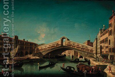 The Rialto Bridge, Venice by (after) Francesco Albotto - Reproduction Oil Painting