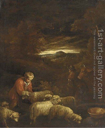 A wooded landscape with a shepherd and his flock by (after) Francesco Da Ponte, Called Francesco Bassano - Reproduction Oil Painting