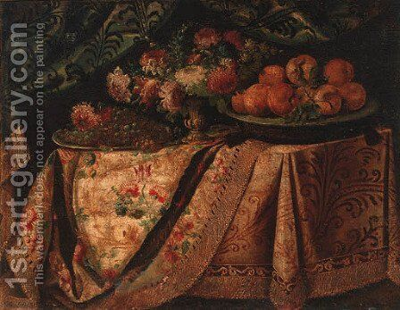 A vase of flowers with a salvers of grapes and oranges on a draped table by (after) Francesco (Il Maltese) Fieravino - Reproduction Oil Painting