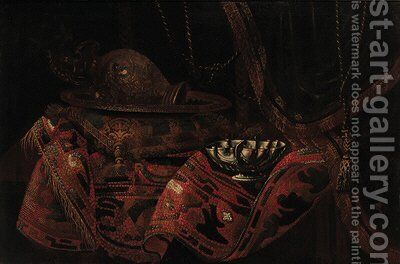A turkey carpet on a table with a brocade cushion by (after) Francesco (Il Maltese) Fieravino - Reproduction Oil Painting