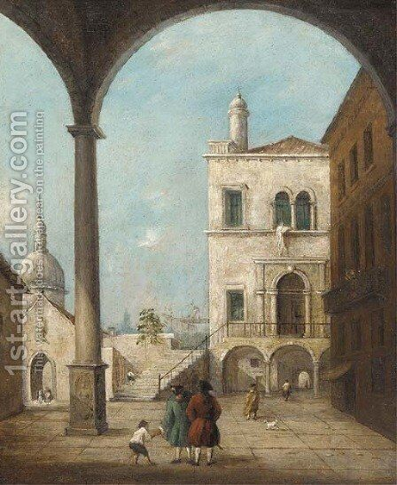 A Venetian courtyard with figures under a colonnade by (after) Francesco Guardi - Reproduction Oil Painting