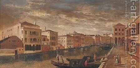View down the Grand Canal, Venice by (after) Francesco Guardi - Reproduction Oil Painting