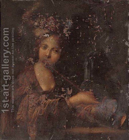 Portrait of a lady, half-length, playing a trumpet by (after) Bravo Cecco (Francesco Montelatici) - Reproduction Oil Painting