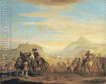 A cavalry encampment by (after) Francesco Simonini - Reproduction Oil Painting
