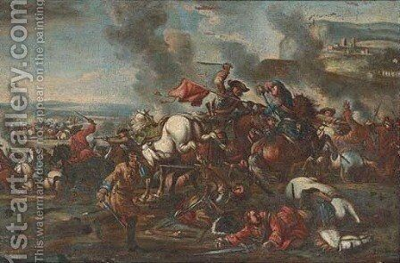A cavalry skirmish 2 by (after) Francesco Simonini - Reproduction Oil Painting