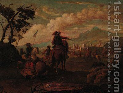 Cavalrymen before a town in an extensive landscape by (after) Francesco Simonini - Reproduction Oil Painting