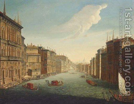 The Grand Canal, Venice, looking East from the Palazzo Balbi to the Rialto Bridge by (after) Francesco Tironi - Reproduction Oil Painting