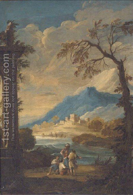 Travellers by a lakeside ruin by (after) Francesco Zuccarelli - Reproduction Oil Painting