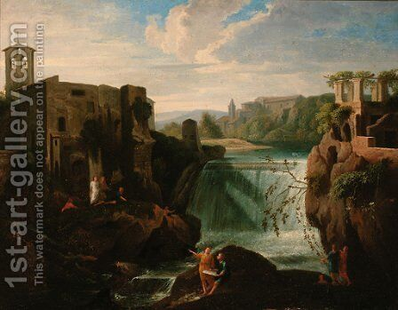 A river landscape with figures before a waterfall by (after) Francesco Zuccarelli - Reproduction Oil Painting