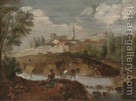 A wooded river landscape with an angler on a river bank, and travellers crossing the river, a town beyond by (after) Francesco Zuccarelli - Reproduction Oil Painting