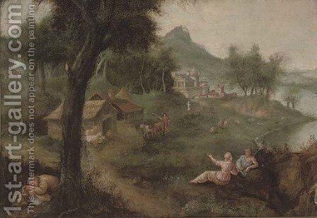 An Italianate wooded river landscape with a shepherd and his flock, a village beyond by (after) Francesco Zuccarelli - Reproduction Oil Painting