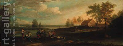 An extensive river landscape with shepherds and anglers on a bank by (after) Francesco Zuccarelli - Reproduction Oil Painting