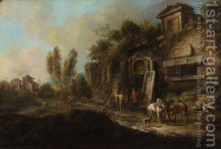Sportsmen by a ruined mansion in an Italianate landscape by (after) Francesco Zuccarelli - Reproduction Oil Painting