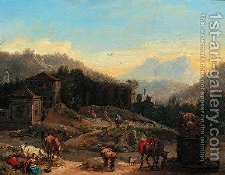 An extensive Italianate landscape with travellers by a well by (after) Francesco Zuccarelli - Reproduction Oil Painting