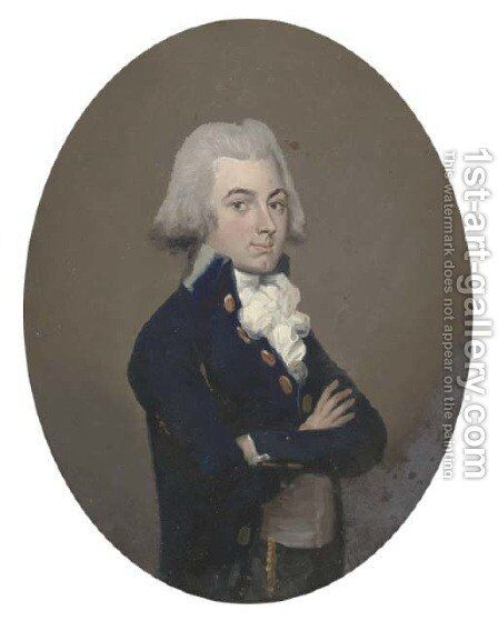 Portrait of a bewigged gentleman by (after) Francis Alleyne - Reproduction Oil Painting