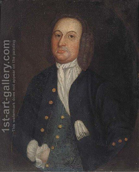 Portrait of a gentleman, small half-length, in a feigned oval by (after) Francis Alleyne - Reproduction Oil Painting