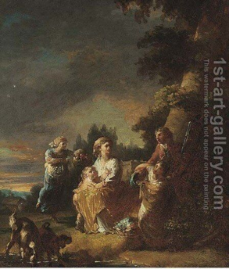 A park with a family at rest beneath a tree by (after) Francisco De Goya Y Lucientes - Reproduction Oil Painting
