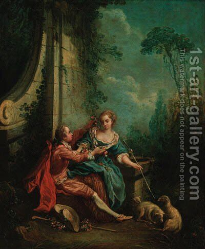A shepherd and shepherdess at a fountain by (after) Francois Boucher - Reproduction Oil Painting