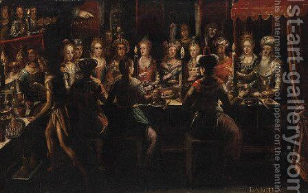 Belshazzar's Feast 4 by (after) Frans II Francken - Reproduction Oil Painting