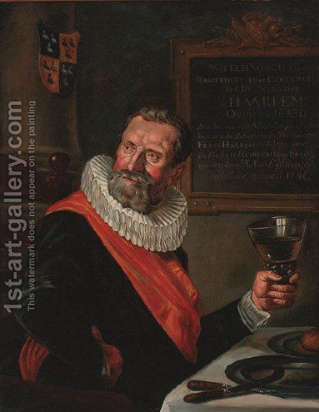 Portrait Of An Officer Of The Saint Hadrian Civic Guard, Half Length, Holding A Roemer, At A Table by (after) Hals, Frans - Reproduction Oil Painting